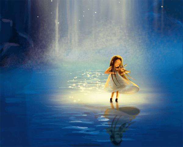 瀑布背景,小提琴演奏女孩